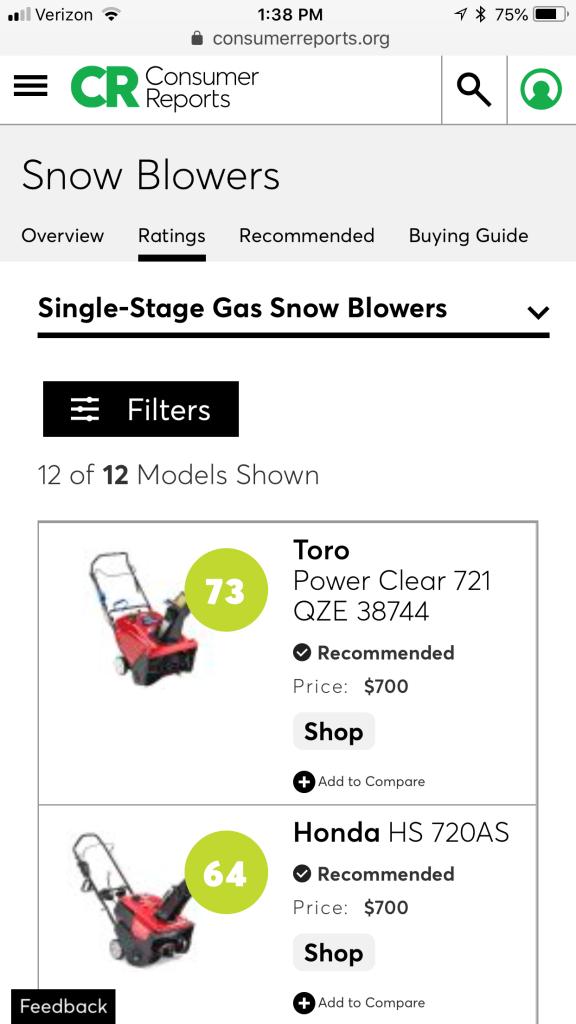 Snowblower Ratings