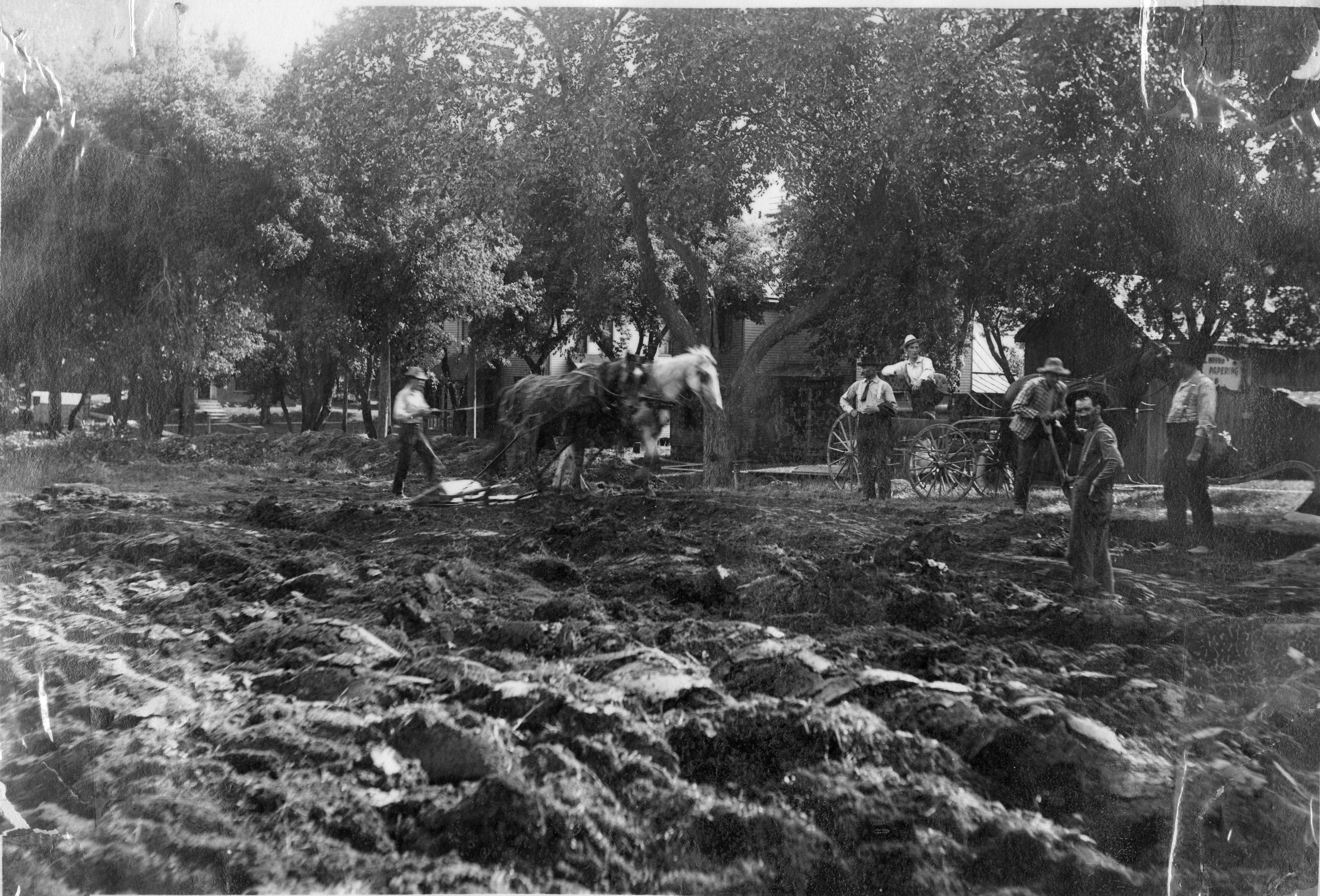 Horses and workers preparing the ground for construction, with move of the ground torn up