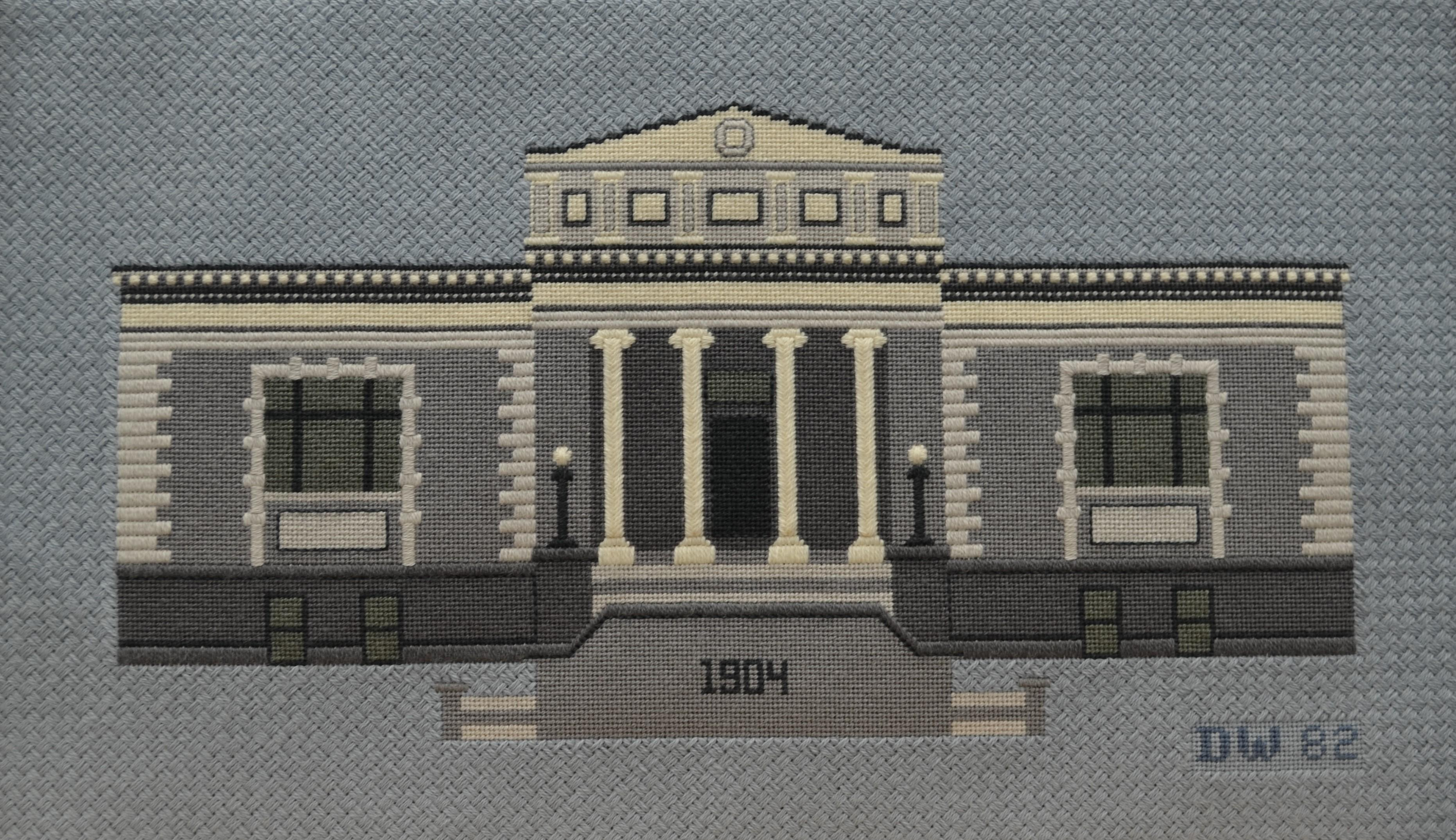 Needlepoint of the Carnegie building
