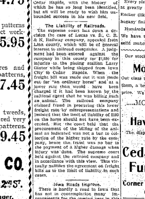 Article from the Cedar Rapids Republican (12/27/1900), p.5, announcing the results of the Supreme Court of Iowa case involving Larry Ginter