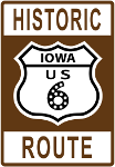 Historic Route 6 Iowa sign