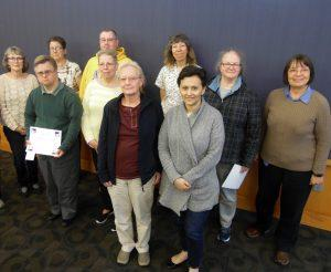 Pictured are some of the individuals honored at the Iowa City Public Library's Annual Volunteer Recognition Event. Back row, left to right: Susan Carroll, Nancy Howe, Joel Barnhart, JoAnn Koskey, Beth Stence, and Ann Valenta. Front row, left to right: William Kurth, Donna Davis, Susanne Humphreys, and Maria Padron.