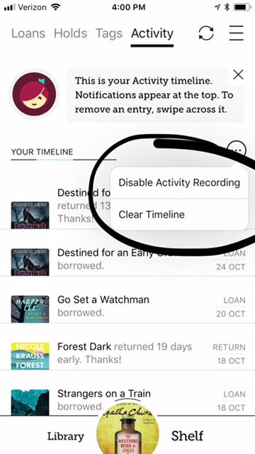 Activity List in Libby app by OverDrive