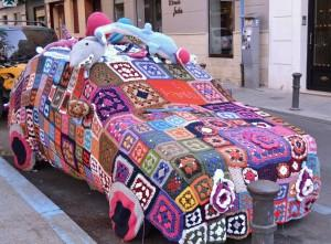 Yarn bombing a car