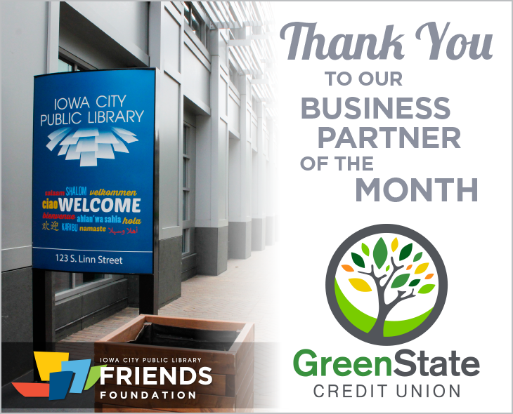 Thank you to GreenState Credit Union, ICPL's Business Partner of the Month. Your generosity fuels more library experiences every day for everyone!