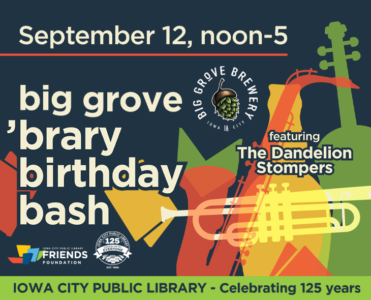 """jazzy musical instruments behind white text reading, """"Big Grove 'brary Birthday Bash"""""""