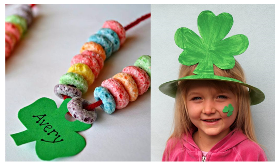 St. Pat's Cereal Necklace and Shamrock Hat Looking for some fun crafts for kids to celebrate St. Patrick's Day? Don your green, and with the luck of the Irish, you can make and wear these fun crafts!