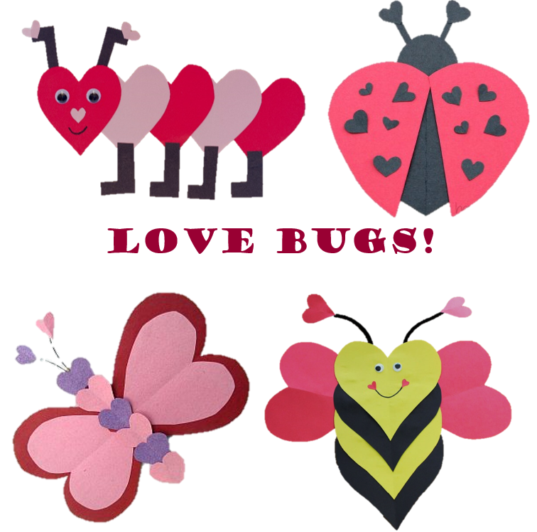 Caterpillar, ladybug, butterfly, bumblebee made from paper hearts