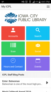 App interface - shows buttons for accounts, search, scan, social, hours & contact, and events