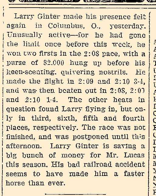 Article announcing that Larry Ginter raced well at the Ohio State Fair (from Iowa City Daily Press (9/23/1905) p.5)