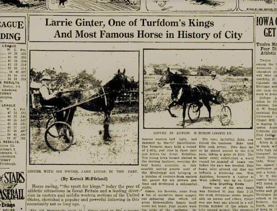 Headline from a retrospective on Ginter in the Iowa City Press Citizen from 7/8/1926 p.11