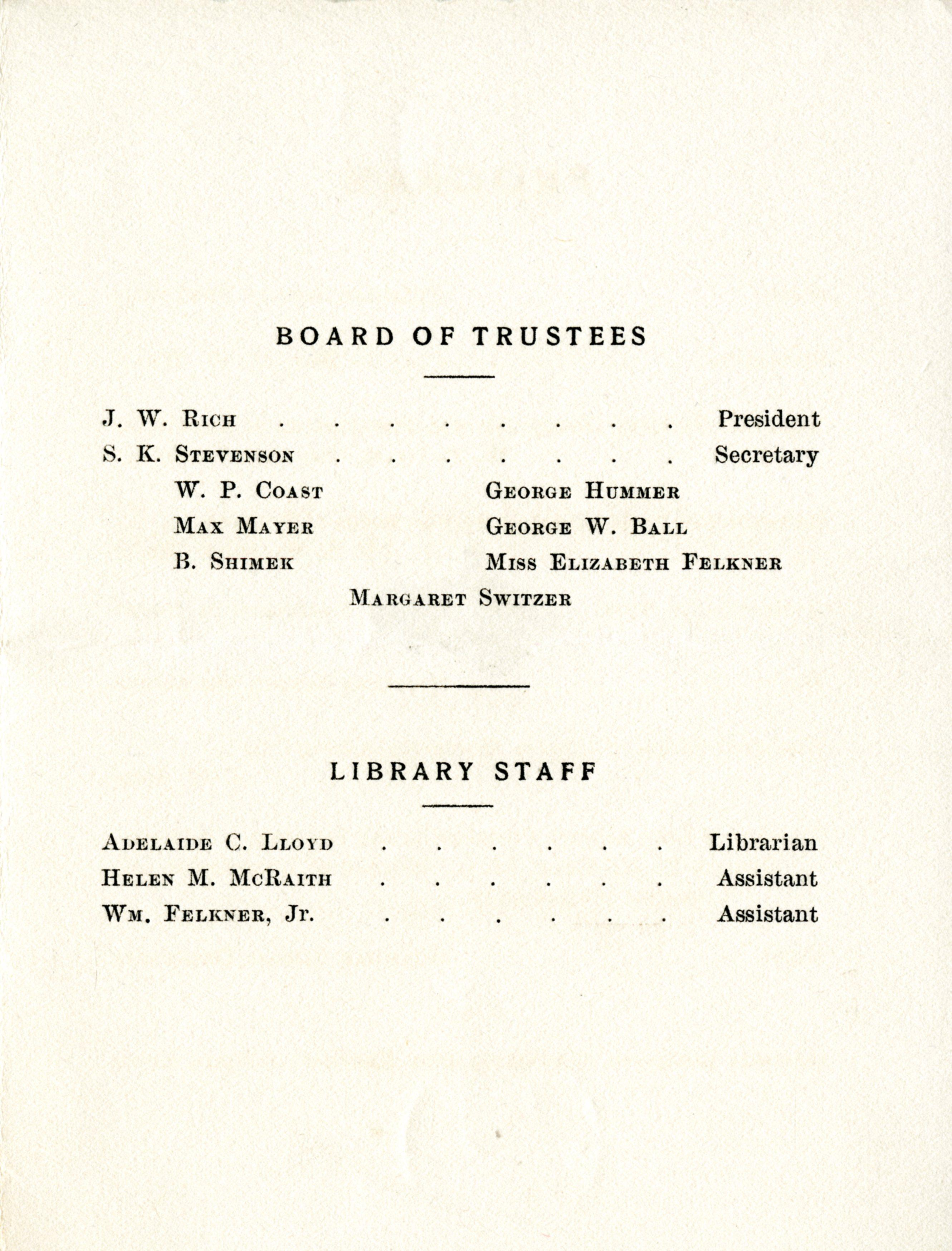 The second page of the program, including names of the trustees and library staff