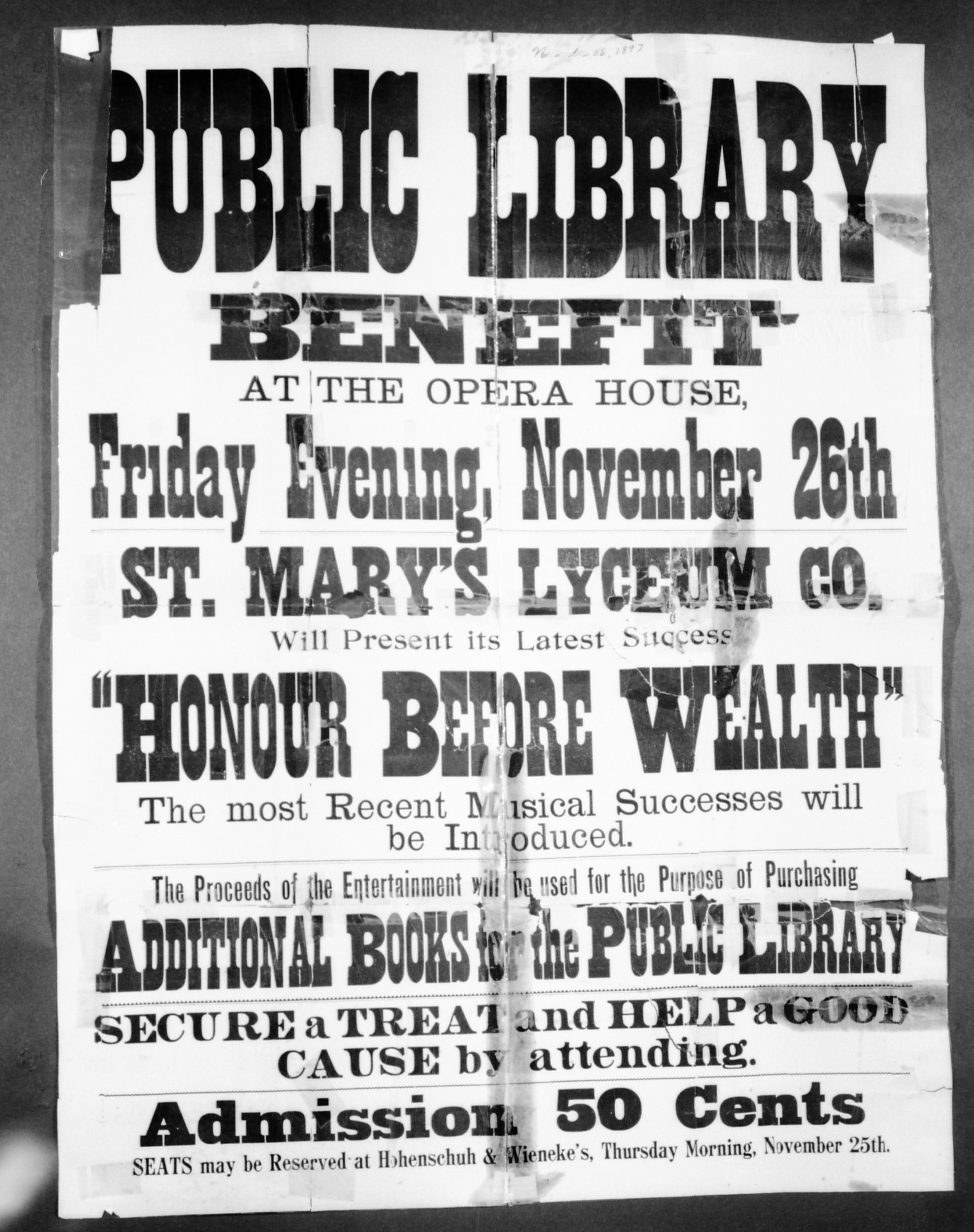 A damaged poster advertising a play called Honour Before Wealth to support the new library 1897