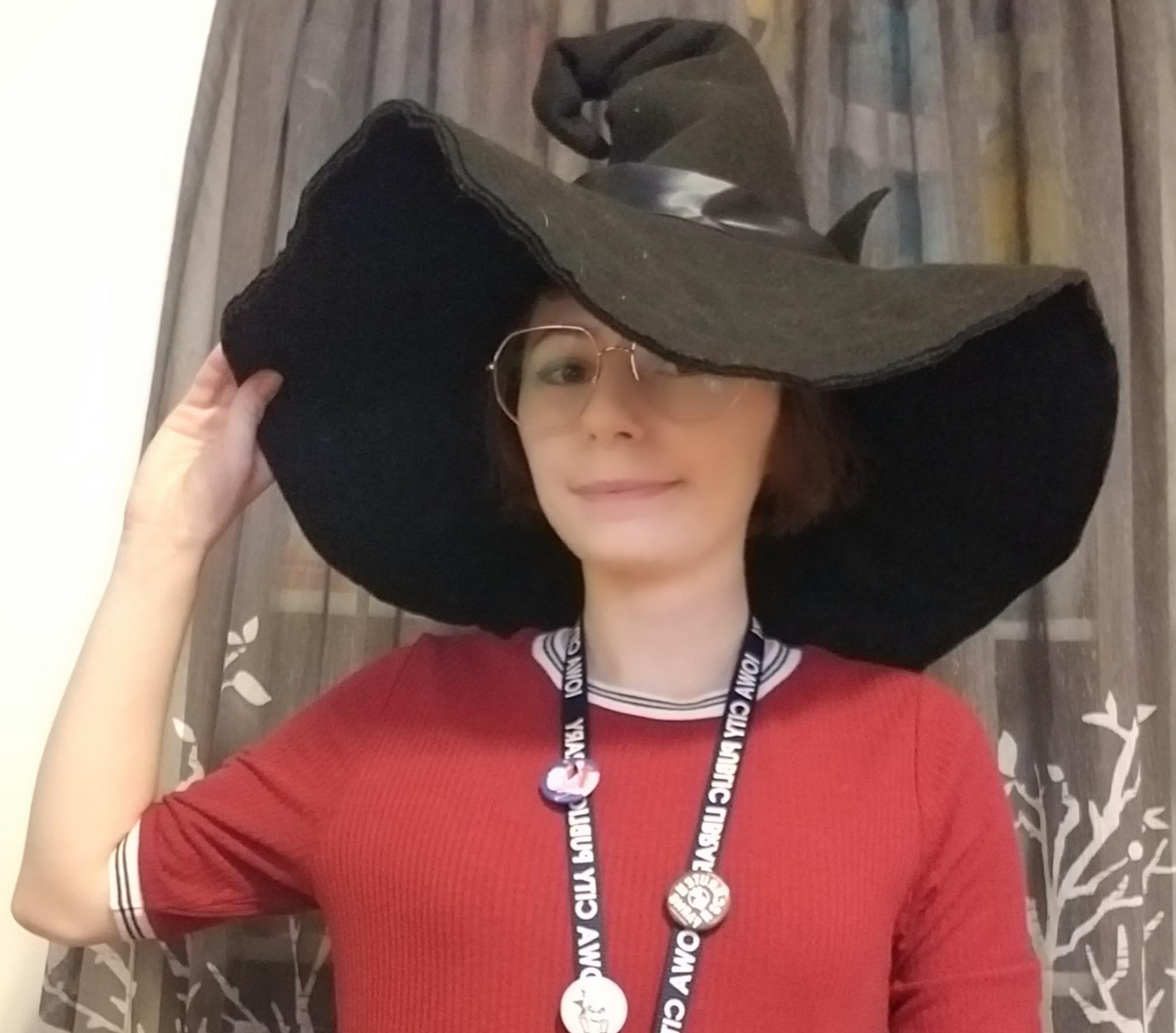 The author wearing a witch hat.