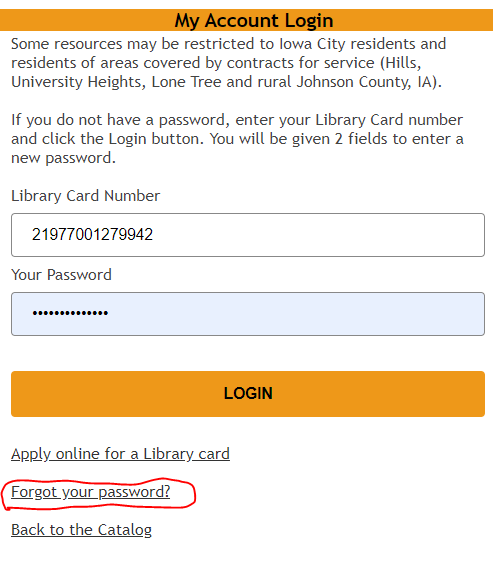 Forgot Password Link