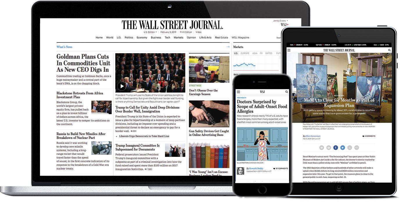 Image of Wall Street Journal website displayed on different devices