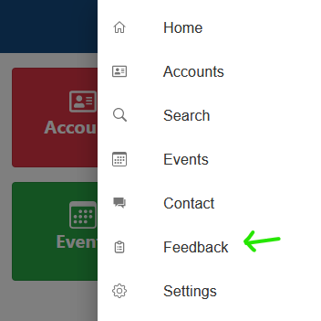 Screenshot of app's menu list with Feedback pointed to by an arrow