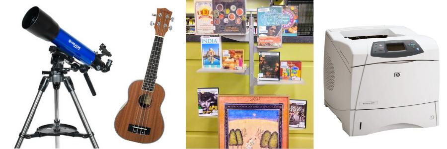 telescope, ukulele, books, DVDs, artwork, printer