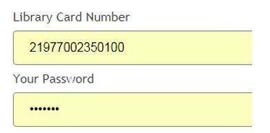 Library card number and password