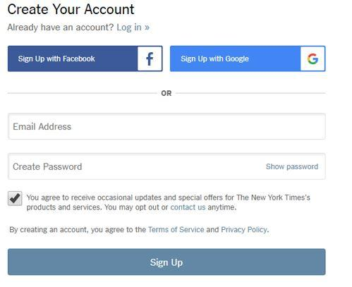 Create Your New York Times Account