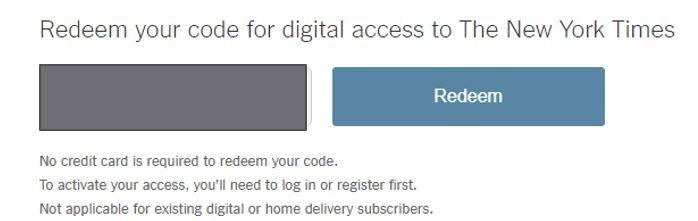 Redeem your code for digital access to The New York Times