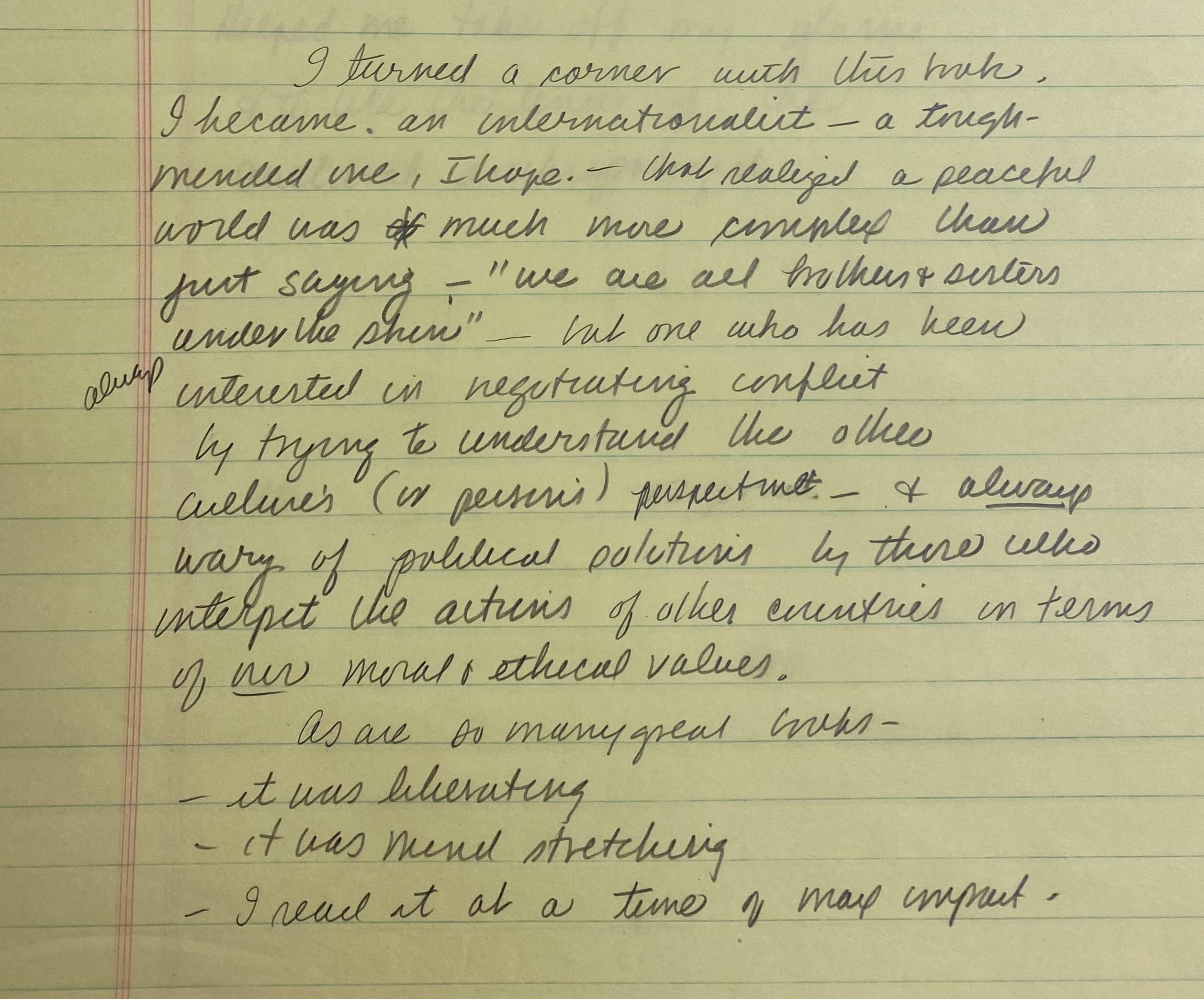 Handwritten note from Lolly