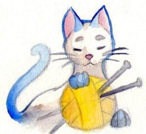"""Mr. Whiskers and his knitting needle"" from MonotonousG on DeviantArt."