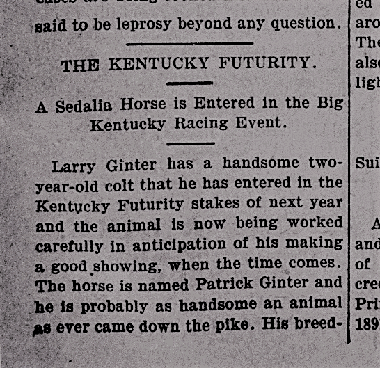 Article from the Sedalia Weekly Standard (7/5/1900) about Missouri horse farmer, Larry Ginter
