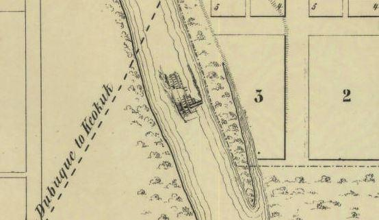 Steamboat depicted in the 1854 map, Iowa City and its environs