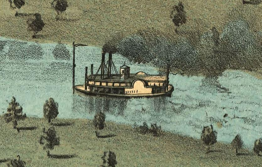 Steamboat depicted in the 1868 Bird's Eye View of Iowa City