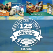 The library's 125th Anniversary logo, pictures of the building and patrons