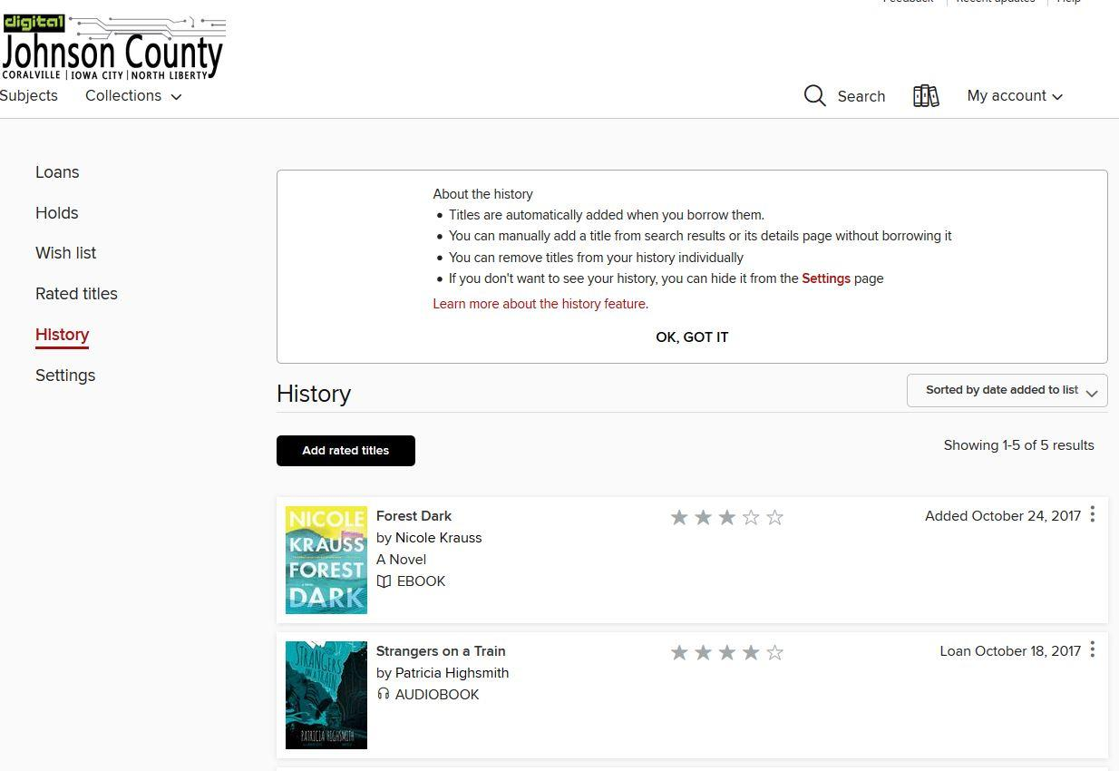 This shows the History view on the OverDrive website with a list of a few titles and the dates they were borrowed