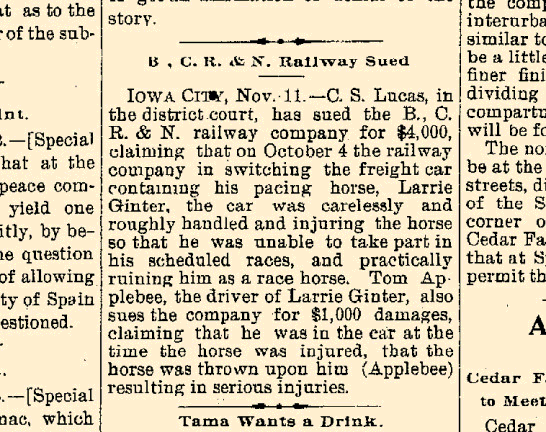 Article reporting that C.S. Lucas was suing the B, C. R. & N. Railway in the Waterloo Daily Reporter (11/11/1898), pg. 1